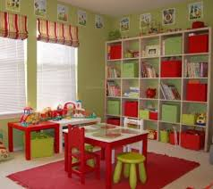 awesome green red ikea kid playroom furniture come with large room ideas and kids bookshelves and red rug along with red table and also green baby playroom furniture