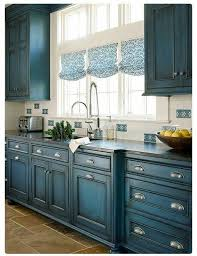 painted blue kitchen cabinets house: really like the blue cabinets maybe not for my house but they are different painted kitchen