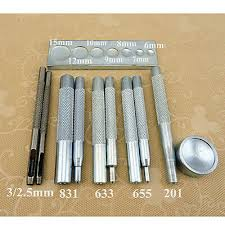 SET OF 11 Eyelet Die Punch DIY Leather Craft Tools Snap <b>Rivet</b> ...