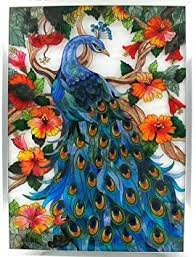 Beautiful Color Stained Glass Peacock Art Window ... - Amazon.com