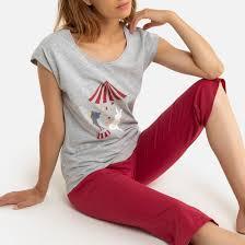Пижама из трикотажа, <b>верх</b> с принтом красный <b>La Redoute</b> ...