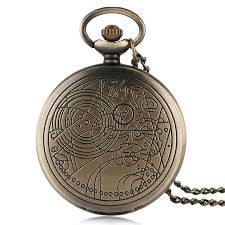 Vintage Bronze/ Silver Doctor Who <b>Quartz Pocket Watch</b> Necklace ...