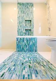 blue bathroom tile ideas: blue mosaic tile in a contemporary bathroom a design and build firm