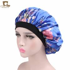<b>New</b> Luxury Wide Band <b>Satin Bonnet Cap</b> comfortable night sleep ...