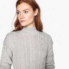 """Пуловер с узором """"косы"""" из блестящего трикотажа серебристый ..."""