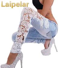 <b>Laipelar Women</b> Fashion Side Lace <b>Jeans</b> Hollow Out Skinny ...