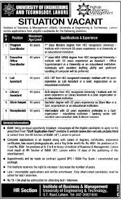 uet institute of business management requires coordinators and uet institute of business management requires coordinators and administration staff