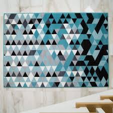 Milan Contemporary Geometric <b>Diamond</b> Design Teal Blue Grey ...