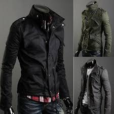 New Fashion Mens Zip Button Hooded Military Slim Fit Collar <b>Jacket</b> ...