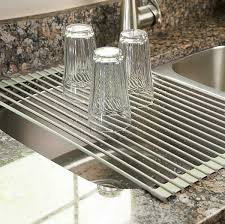 sink dish drainer racks kitchen amazoncom surpahs over the sink multipurpose roll up dish drying rack