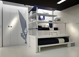cool bedroom ideas with double beds which has dark bedsheet and open storage shelves plus large white lacquer wardrobe also white ceramic floorjpg bedroom kids bedroom cool bedroom designs