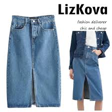 2019 <b>Summer Vintage</b> Blue Denim Skirts <b>Womens</b> High Waist Jean ...