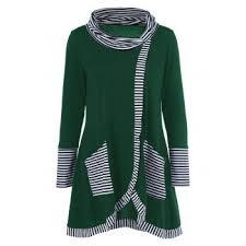 <b>Pinstriped Patchwork Pockets Design</b> Tee #Long #Sleeves ...