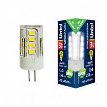 (UL-00006742) <b>Uniel G4 3W 3000K</b> прозрачная <b>LED</b>-<b>JC</b>-<b>220</b>/<b>3W</b> ...