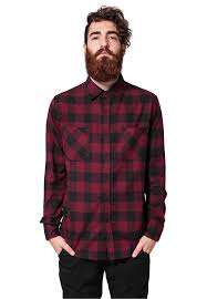 Рубашка <b>URBAN CLASSICS Checked</b> Flanell Shirt (Black/Burgundy)