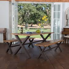 Industrial Style Kitchen Table Appealing Dining Room Table Bench Acacia Oak Top Black Metal Legs