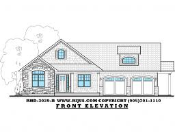 Rijus Home  amp  Design Ltd   Ontario House Plans  Custom Home Designs    Bungalow design   Storey  amp    exterior  bedrooms   office that could be used as third bedroom  Large eating  kitchen  amp  great room at rear of house