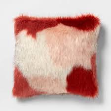 <b>Square Color</b> Block Faux Fur Throw Pillow Burgundy/Pink - Opalhouse