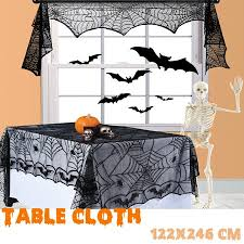 <b>Halloween Lace Bat</b> Spider Web Tablecloth Black Table Cover Mat ...