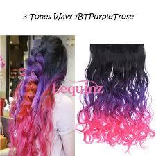 3 Tones <b>Curly</b> Black to <b>Purple</b> to Rose <b>Wavy</b> Hair Extensions $8.00