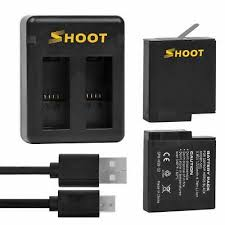 <b>SHOOT Dual Port Battery</b> Charger with 2pcs 1220mAh Battery for ...