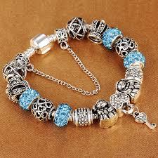2019 <b>HOMOD</b> Authentic <b>Silver</b> Plated 925 Crown <b>Beads</b> Key Crystal ...