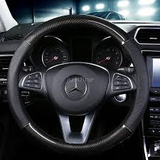 Mercedes Benz <b>Carbon Fiber</b> Leather Car Steering Wheel Cover ...