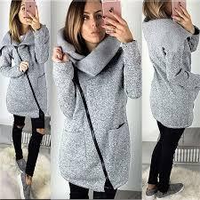 Women Autumn <b>Winter</b> Warm <b>Fleece</b> Sweatshirt Hoodie <b>Turn</b> down ...