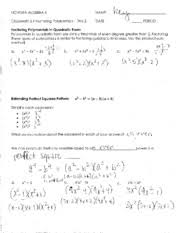 Homework   Factoring Polynomials   Day