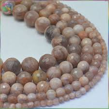 <b>Natural</b> Brown Sand <b>Moonstone</b> Faceted Loose <b>Round</b> Beads 4mm ...