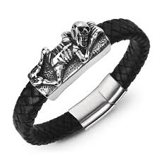 Leather <b>Braided</b> Bracelet <b>Skull</b> Stainless Steel Magnetic Clasp Punk ...