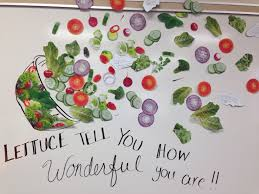 janitor poem on poster board to decorate doors for custodian lunch lady appreciation board each piece if salad has a handwritten note from administration and