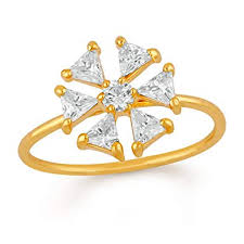 Buy Mahi Gold Plated Floral Love <b>Triangular Petals</b> Finger Ring with ...