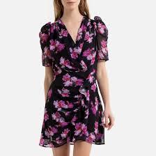 <b>Платье короткое</b> с запахом с цветочным рисунком рисунок ...