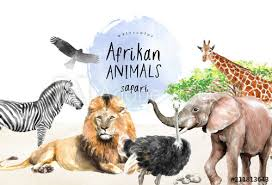 watercolor illustration of African animals: <b>zebra</b>, lion, ostrich ...