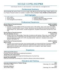 occupational and physical therapy resume examples in durant  ok    nicole copeland p   occupational and physical therapy resume   durant  oklahoma