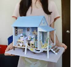 new large diy wooden doll house miniature happy coast with 3d led light music furniture handmade aliexpresscom buy 112 diy miniature doll house