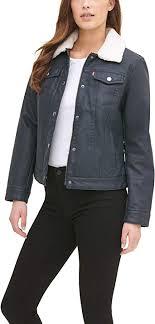 <b>Levi's</b> Women's Classic Lined Trucker Jacket <b>Faux</b>-<b>Leather</b>, Navy ...