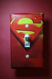 superhero bathroom wall art decor personal superman logo light switch plate cover comic book boys child kids room