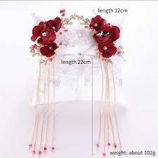 1 Set of <b>Chinese Golden</b> Flower Hairpins Earrings <b>Retro</b> Wedding ...