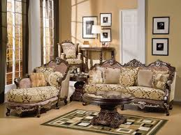 Wooden Living Room Furniture Charming Brown Wooden Carving Luxury Sofa Lounge And Pedestal