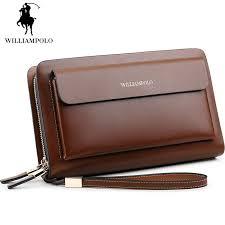 Black Long Wallet Men Double Zipper Wallet <b>Vintage Genuine</b> ...