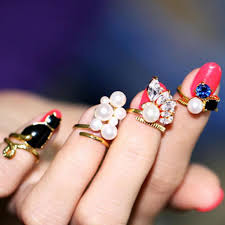 Women <b>Fashion Artificial</b> Peals Crystals Rhinestones Black Cat Nail ...