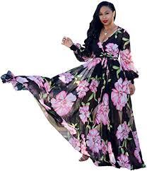 Nuofengkudu <b>Womens Chiffon</b> Deep V-Neck Stripe Printed Maxi ...