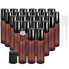 24 pack 10 ml clear glass roller bottles with golden lids balls