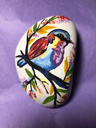 Colorful <b>spring bird</b> | Rock <b>painting</b> art, Stone art, <b>Painted</b> rocks