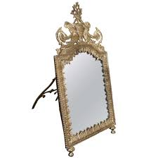 table mirror: continental silver on brass standing dressing table mirror