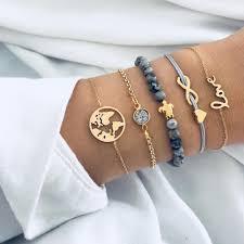 <b>5PCS</b>/<b>Set Turtle Heart</b> Earth Map Bead Charm Bracelets For Women ...