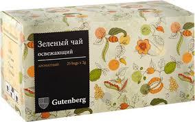 <b>Чай</b> в пакетиках Gutenberg <b>Зеленый освежающий</b>, 25 шт по 2 г ...