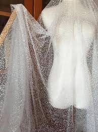 <b>Exquisite</b> glitter <b>soft</b> tulle bridal lace fabric in ivory , dotted wedding ...